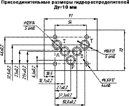 Присоединительные размеры гидрораспределителя